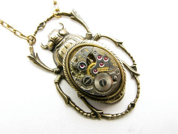 Items similar to Steampunk Brass Scarab Beetle Necklace on ...