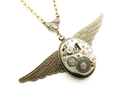 Steampunk Brass Wings of Victory Necklace
