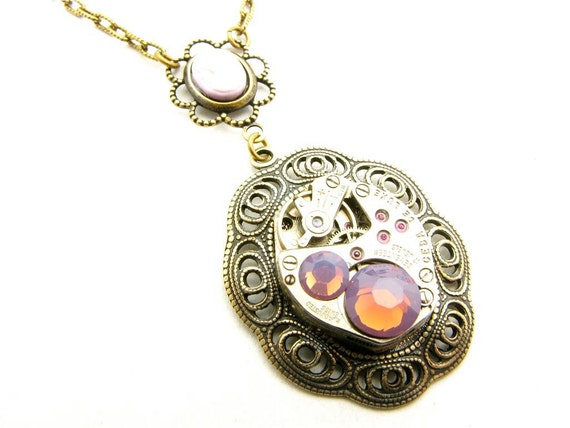 Steampunk Brass Lavender Cameo Necklace