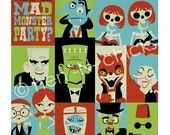 Mad Monster Party 8x8 print