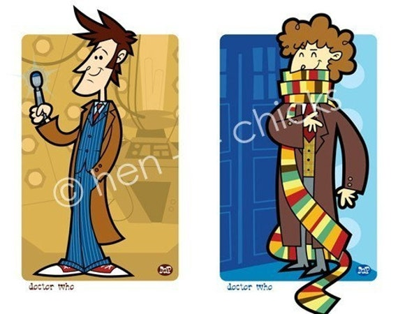 Doctor Who set of 2 mini prints