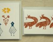 Screenprinted Card Set (Pack of 8) - Hens\/Roosters