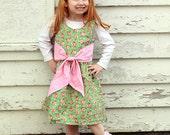 Dress, Sundress,  Easter, Big Bow, Floral, Green, Pink,  Infant, Toddler, Preteen