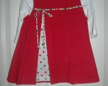 Girls Christmas Dress, Free Shipping, Free Bow,Red  Corduroy Jumper, 6mo,12mo,18mo,2t,3t,4,5,6,7,8