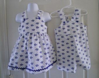 Twin Matchng Outfits,Easter,Bluebirds,Newborn-Toddler