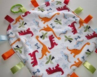 Baby Dinosaur Tag Blanket, Sensory Blanket, Toy, Teething  Minky, Ready to Ship, Baby Gift