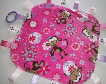 Baby Girl Monkey Tag Blanket, Handmade, Sensory Blanket, Lovey ,Teething, Tags, Ribbons, Toys, Ready to Ship, Shower gift