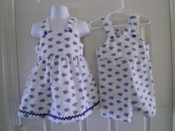 Twin Matchng Outfits,Easter,Bluebirds,Newborn-Toddler