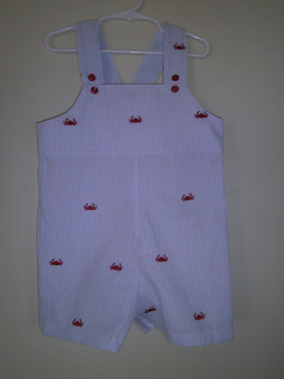 Boys Short Embroidered Crab Overalls, Easter, Babies Sun suit, Toddlers Sun suit.  Summer, Blue Seersucker, sizes 6m,12m,18m,2t,3t,4t
