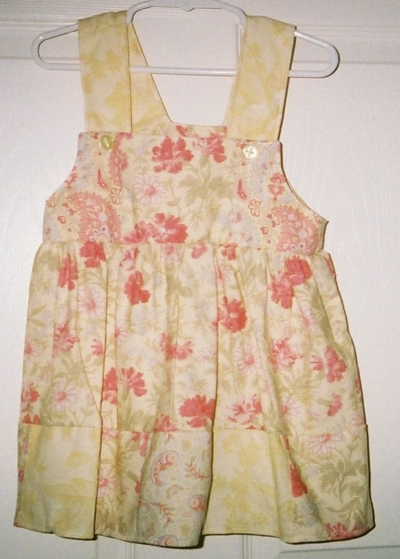 Girls Yellow Floral Sundress, Handmade Dress, Baby Diaper Dress, Toddler Sundress, Cotton Dress, Shabby Chic Dress, Baby Dress