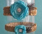 Tiffany Blue and Gold Satin Feather Wedding Garter Set I112 - bridal garter accessory