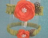 Apple Green and Tangerine Feather Rose Wedding Garter Set B171 - bridal garter accessory