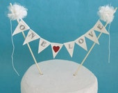 Ivory Lace, Organza and Tulle Pompom flower ONE LOVE Cake Bunting E162 - wedding cake topper
