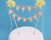 "Yellow fabric Pompom flower ""JUST MARRIED"" Burlap Cake Banner F192- shabby chic wedding bunting decoration"