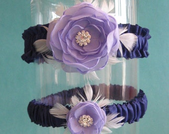Bridal garter,  Lavender Feather Rose Wedding Garter Set K086 - bridal garter accessory