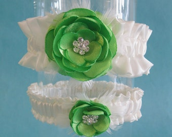 Wedding Garter Lime and Ivory Satin, Bridal Garter Set, L280, Weddings accessories