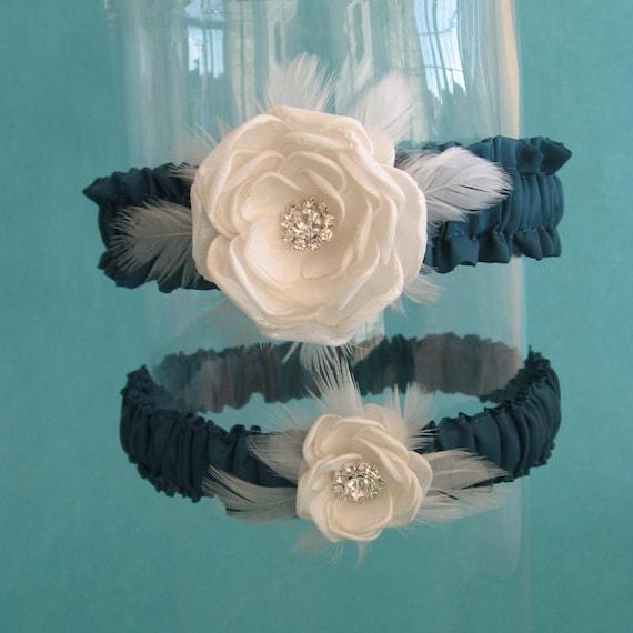 Dark Teal and Ivory Feather Rose Wedding Garter Set C082 - bridal garter accessory
