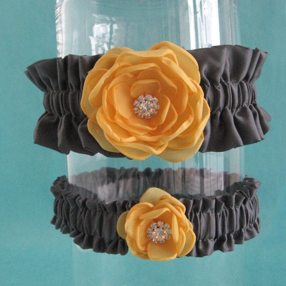 Marigold Yellow And Pewter Gray Garter Set L291 By HARTfeltart