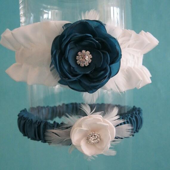Dark Teal and Ivory Feather Rose Wedding Garter Set C151 - bridal garter accessory