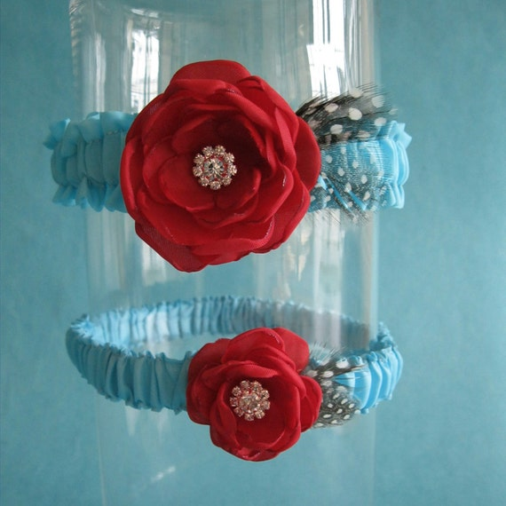 Red And Tiffany Blue Wedding Ideas: Tiffany Blue And Red Feather Rose Wedding Garter Set D162