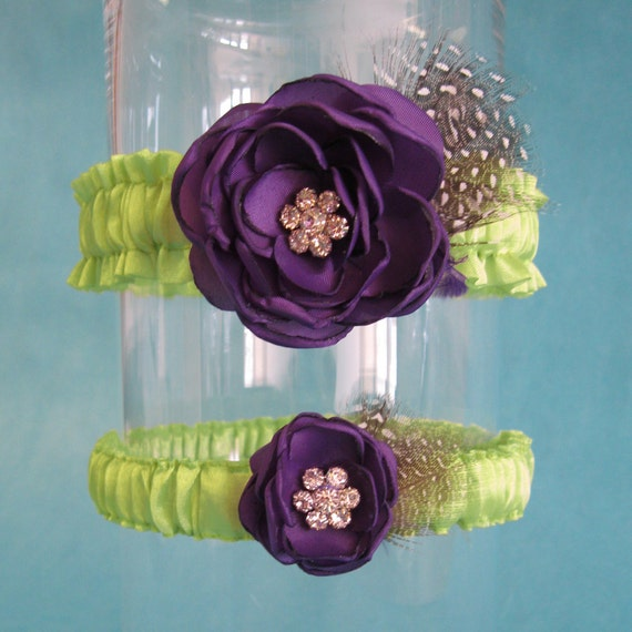 Lime Green and Dark Purple Feather Rose Wedding Garter Set D213 - bridal garter accessory