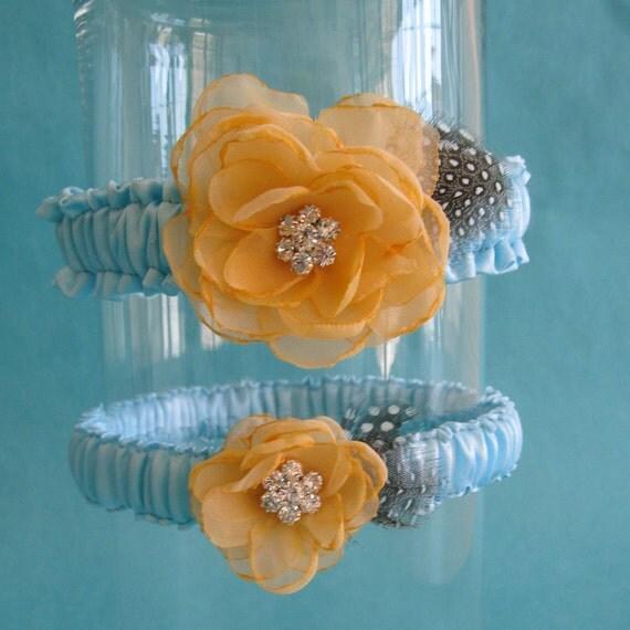Tiffany Blue and Light Tangerine Chiffon Rose Wedding Garter Set B033 - bridal garter accessory