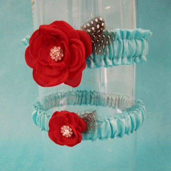 Red Wedding Garters: Wedding Accessory Garter Blue Red Bridal Garter Set Garters