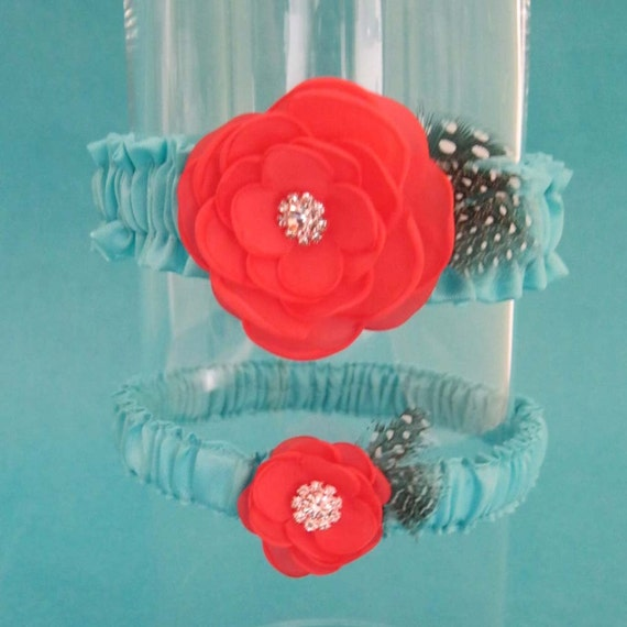 Tiffany Blue and Coral Feather Rose Wedding Garter Set F081 - bridal garter accessory