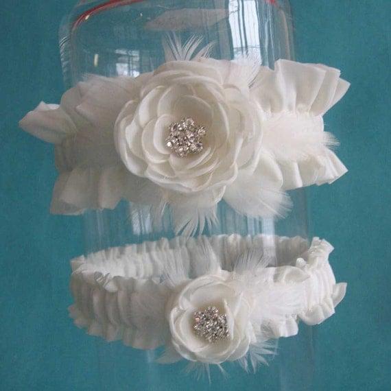 Ivory Feather Rose  Wedding Garter Set F102- bridal garter accessory