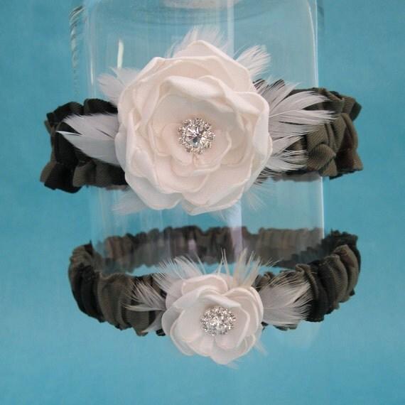 Garter Camouflage and Ivory Satin Feather Rose Garter Set F272- bridal garter wedding accessory