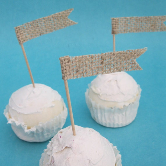 Cup Cake Topper,  Natural Burlap, Cupcake flag, set of 12, G162- shabby chic wedding decorations