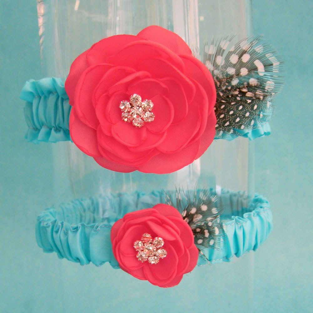 Tiffany Blue And Coral Feather Rose Wedding Garter Set E165