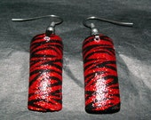 Red and Black Glitter Zebra Nail Art Earrings