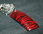 Red and Black Glitter Zebra Nail Art Necklace