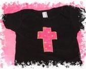 PInk\/Green Polka Dot Cross Applique Shirt, Black, 6-12M
