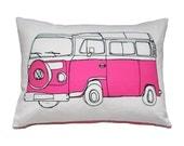 SALE - Pink Campervan Cushion Pillow