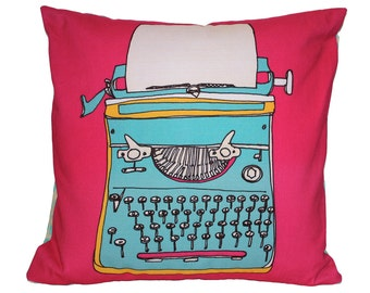 SALE - Typewriter Cushion Pillow - Illustrated Home Decor