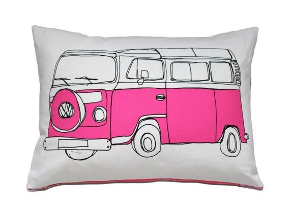 SALE - Pink Campervan Cushion Pillow
