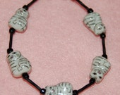 Adorable Gray and White Tabby Cat Bracelet with Black Accent Beads