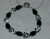 Adorable Ceramic Panda Bear Face Bracelet Accented with Black Glass and Green Wood Beads