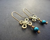 Celtic Knot Peacock Antique Brass & Pearl Wire Wrapped Earrings