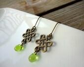 Celtic Knot Antique Brass Green Drop Earrings