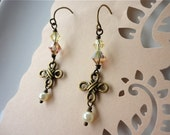 Celtic Knot Antique Brass and Swarovski Crystal Earrings