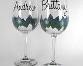 Mountain Silhouette Custom Wine Glasses