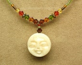 Necklace and Earrings Set, Face of Carved Bone (Autumn Colors)