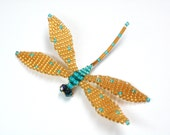 Dragonfly Pin (or Window Jewelry), Teal and Gold