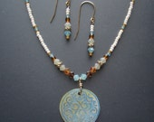 Necklace and Earrings Set, Etched Shell Pendant (Soft Blue and Pearl)