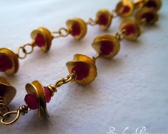 Persephone Bracelet - 24k Gold Ruby Gemstone Primitive Bracelet