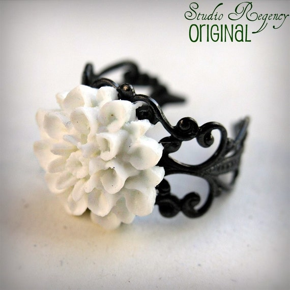 Snow Chrysanthemum Blossom Ring - Victorian Era - Purchase of this ring supports Autism Society of America