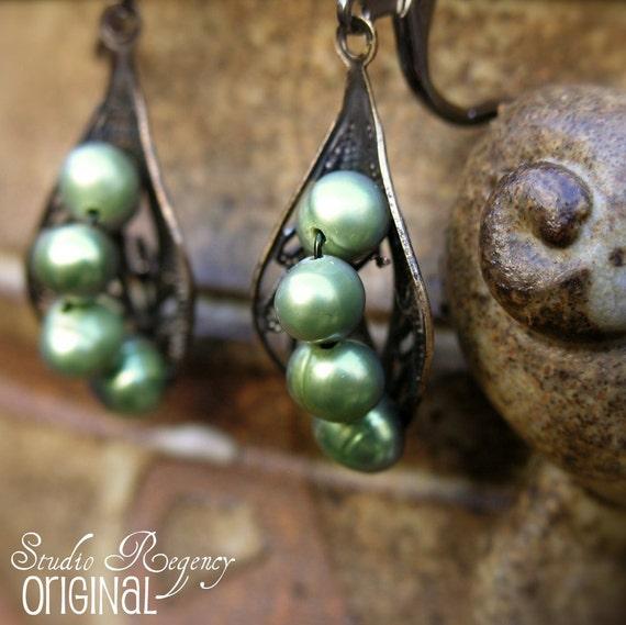 Peas In A Pod Pearl Earrings - Victorian Era - CUSTOMIZABLE